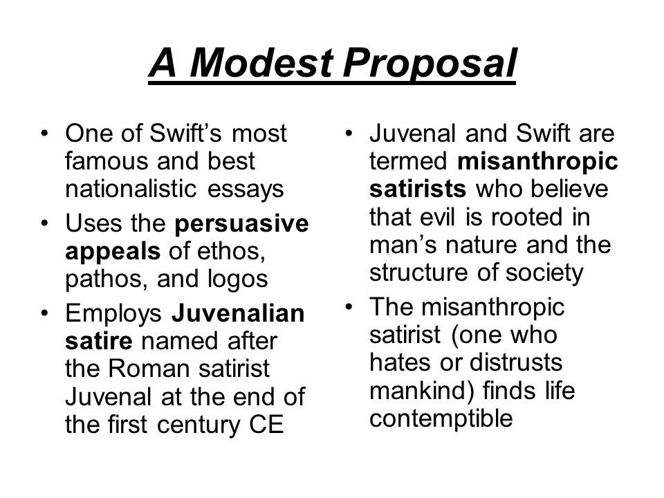 Ethos, Logos And Pathos In Jonathan Swift's A Modest Proposal