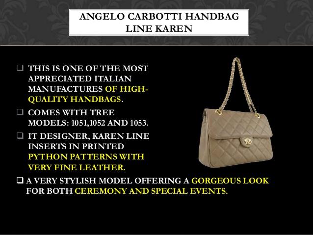 Angelo Carbotti Handbag Line Karen